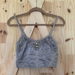 Free People Embellished Silver Bralette